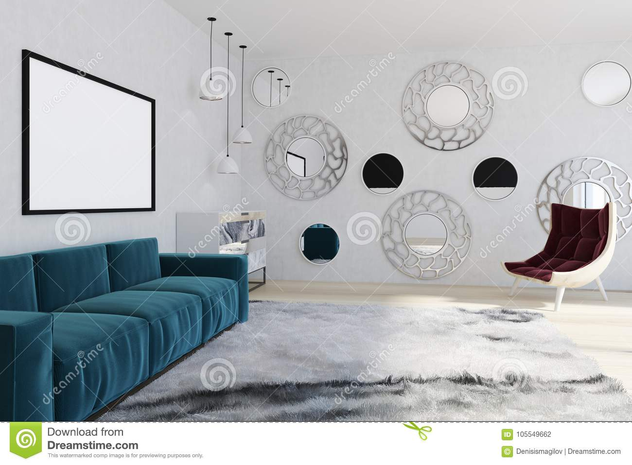 Mirror Living Room, Blue Sofa, Armchair Stock Illustration ...