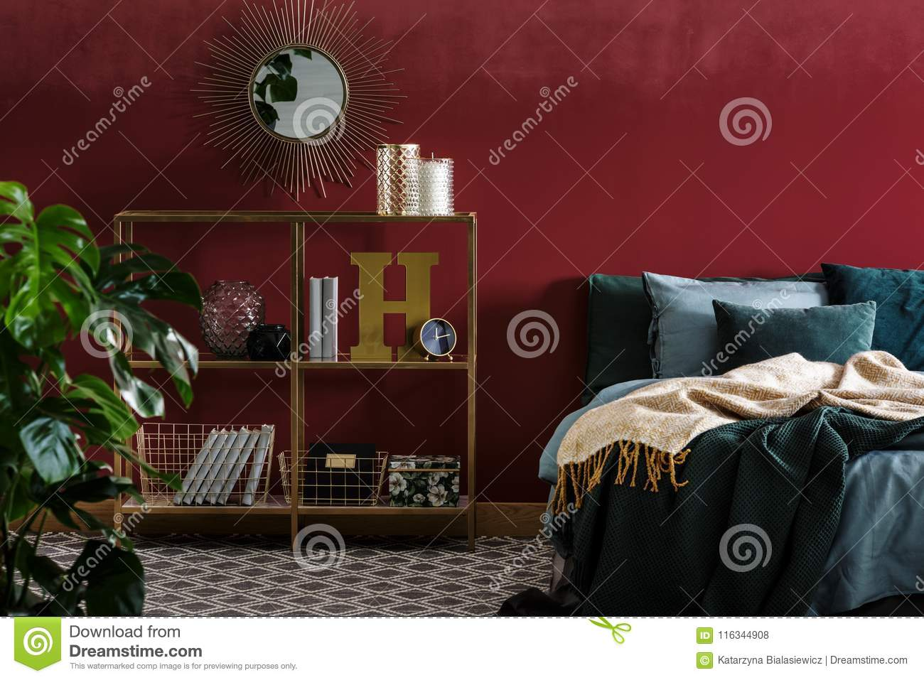 Mirror In Red Bedroom Interior Stock Photo Image Of Gold