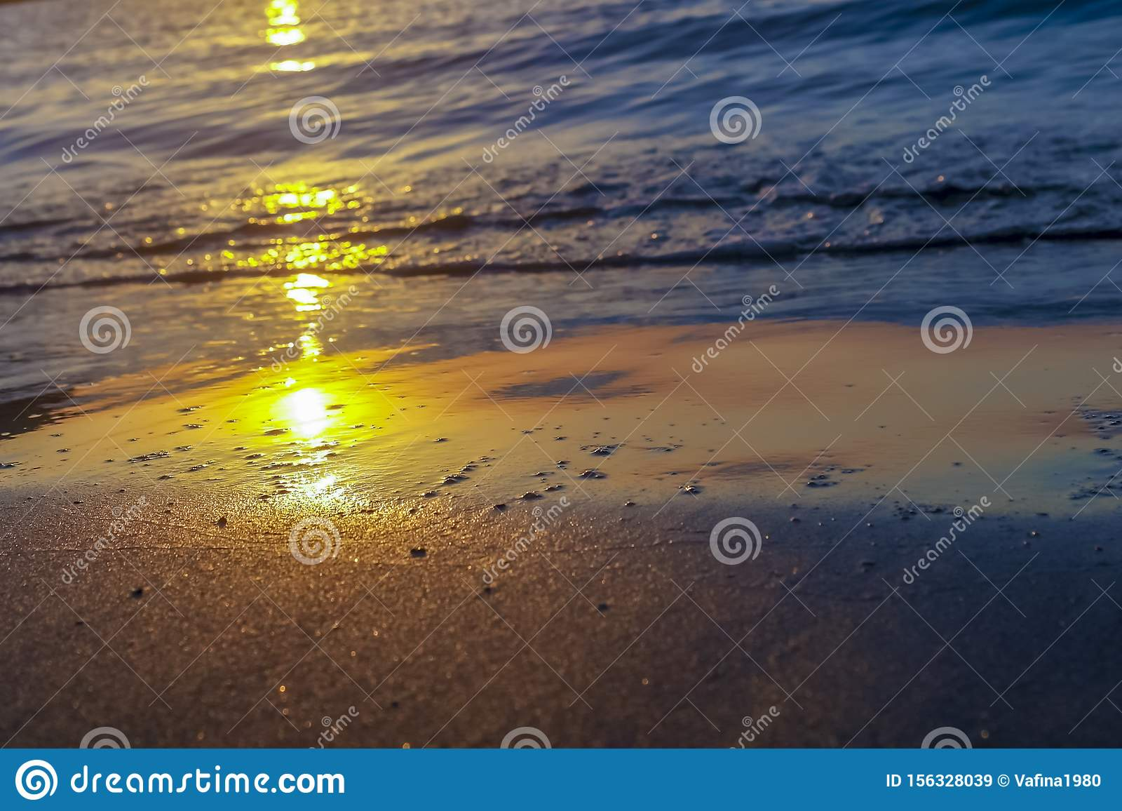Mirror Reflection Of Dawn On Wet Sand Stock Image Image Of