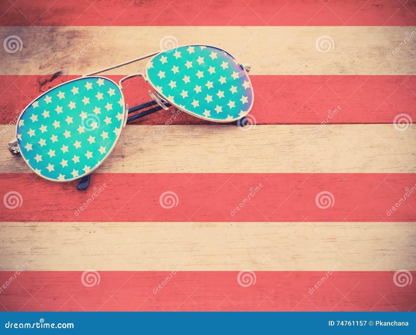 Mirror sunglasses as American flag pattern