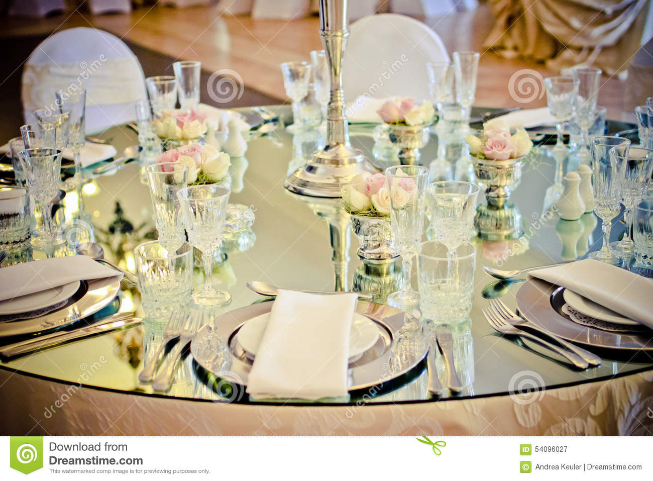 Mirror Wedding Table Stock Photo Image: 54096027