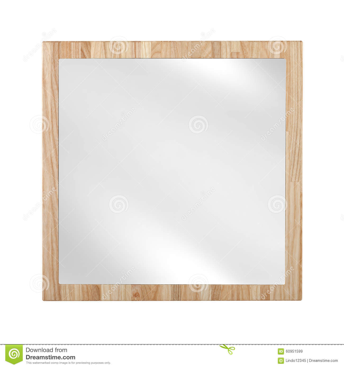 Mirror In Wooden Oak Frame - Isolated Stock Image - Image of wall ...