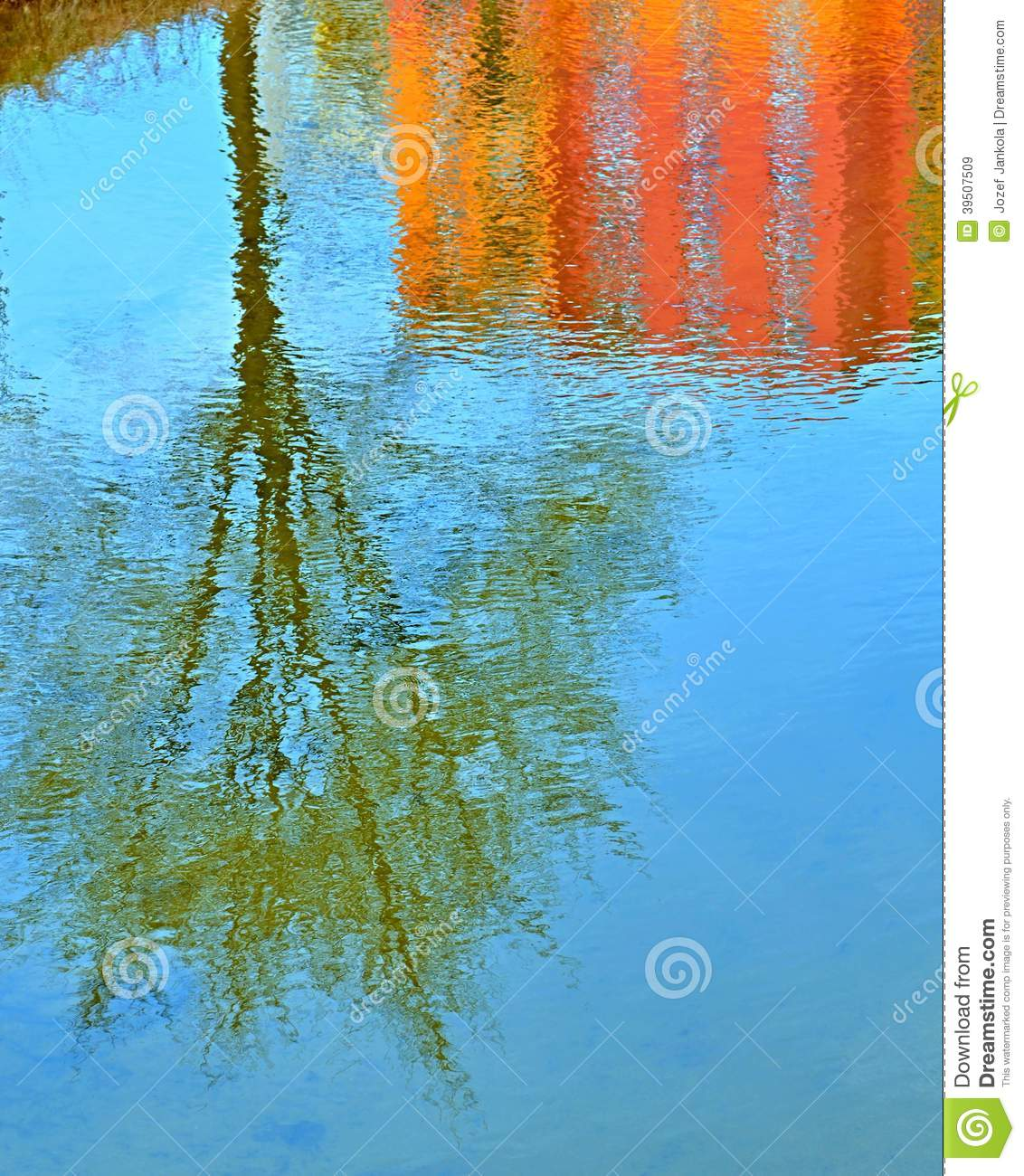 Mirrored trees and building in water