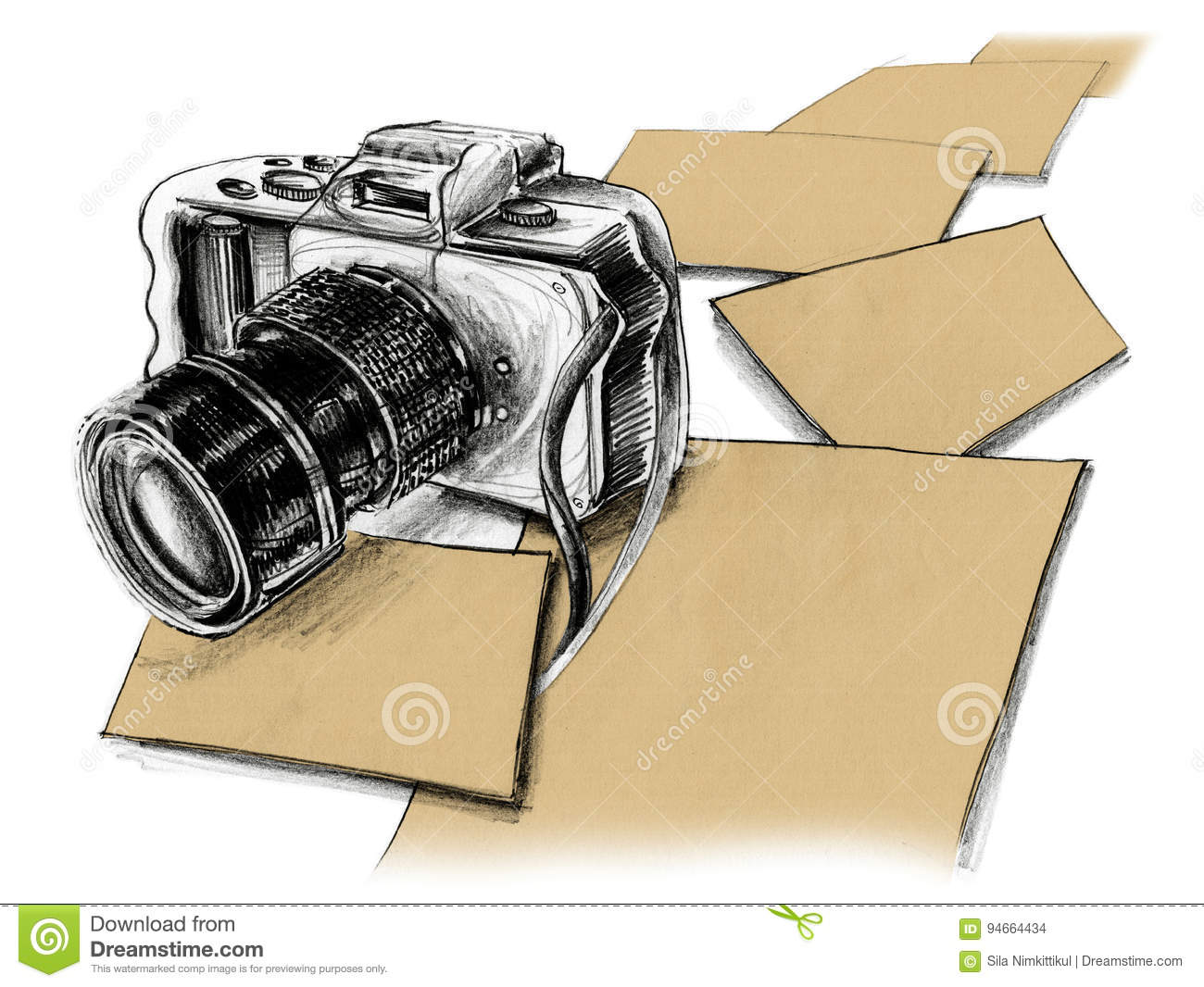 Mirrorless camera pencil sketch and paper free space