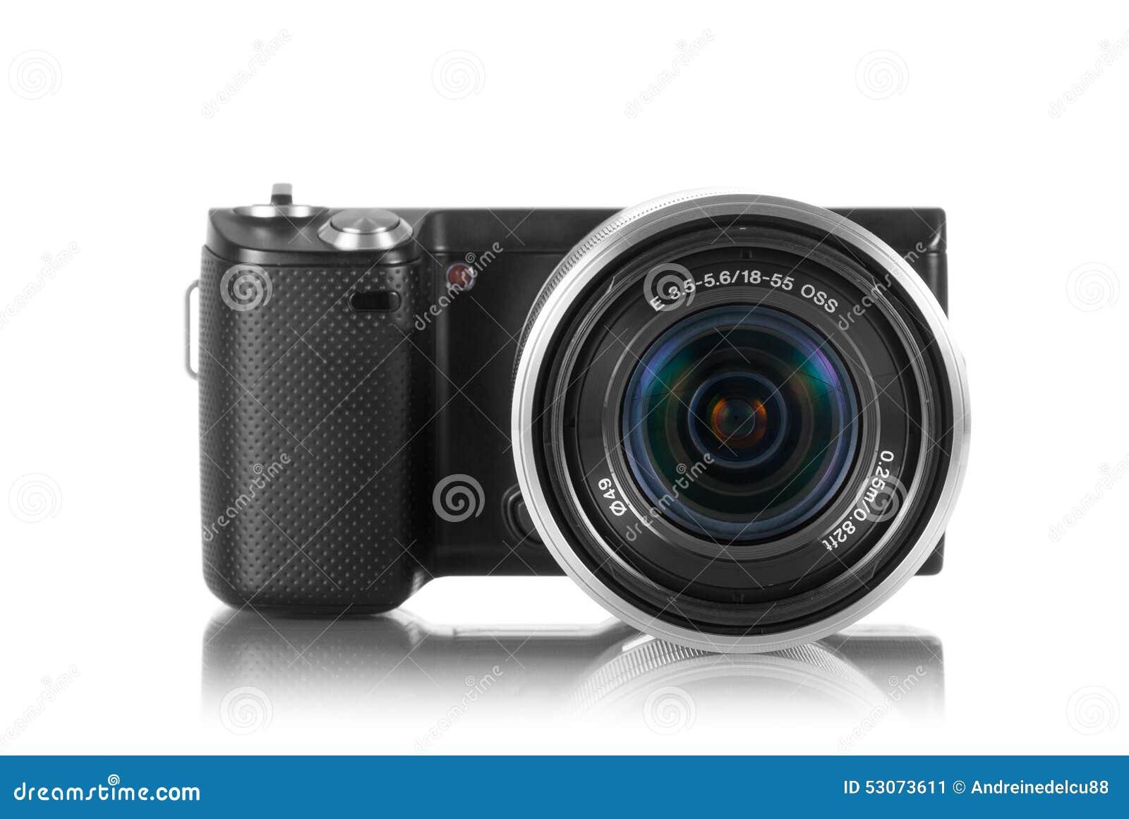 Mirrorlesscamera met lens