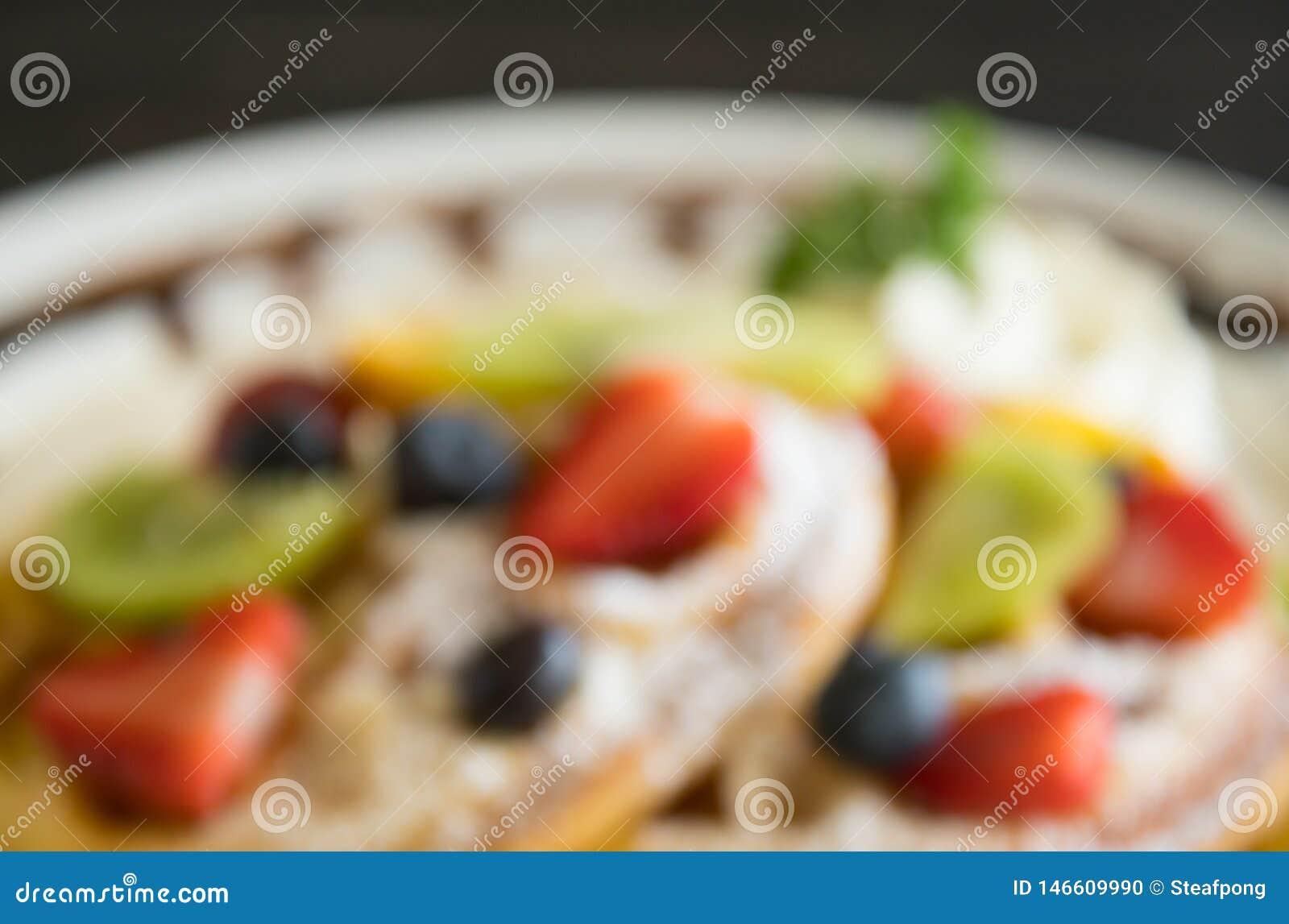 Mirtilo de borrão Kiwi Fruity Waffle Dessert Background da morango do estilo para o projeto