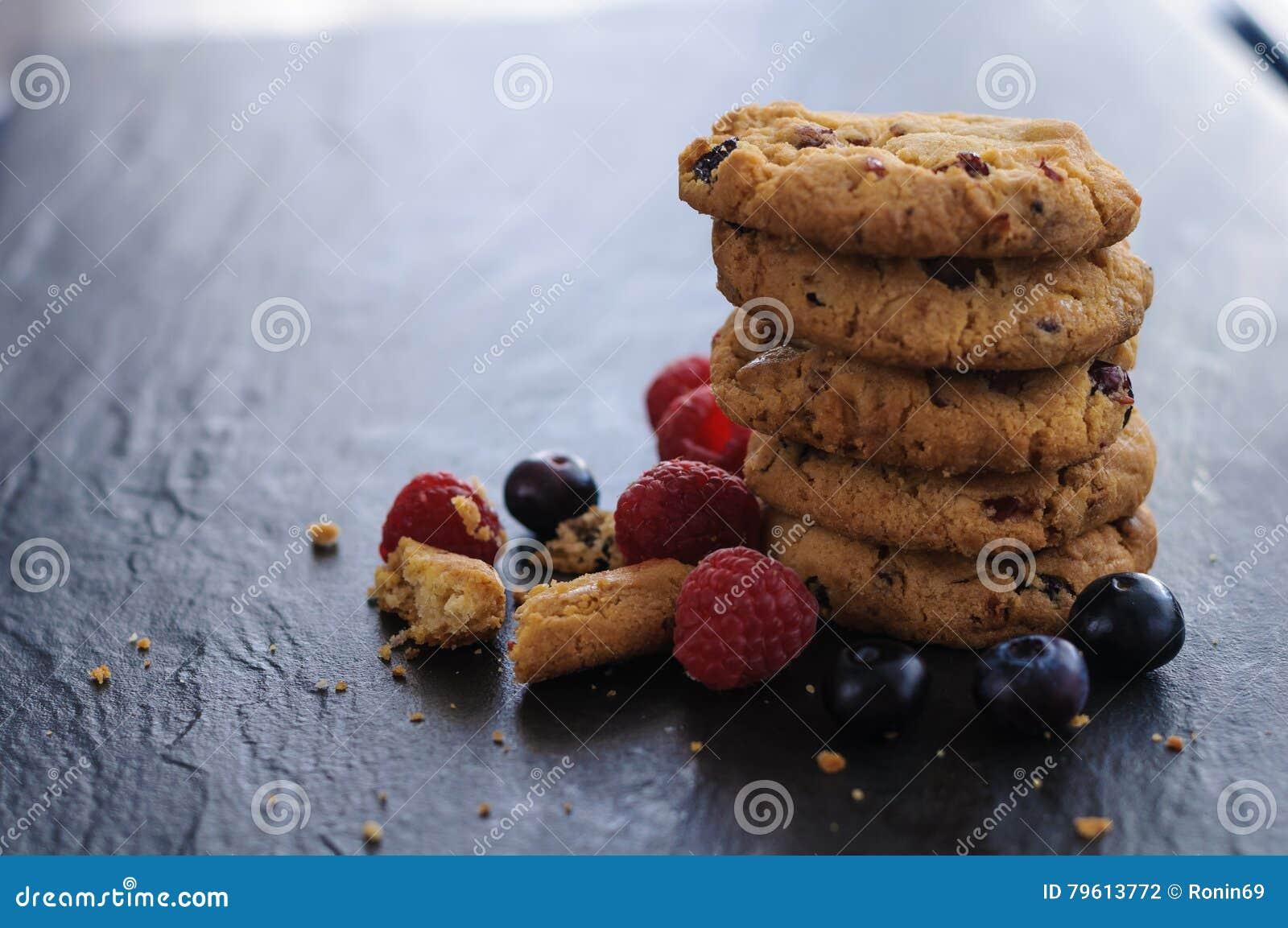 Mirtilos das framboesas das cookies