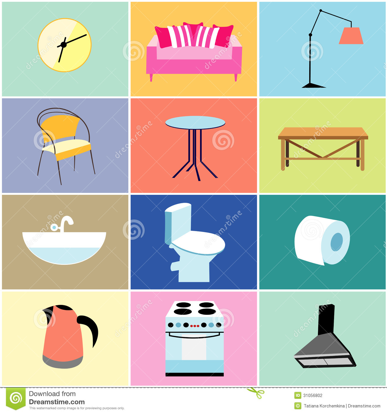 Misc Furniture And Household Items Stock Vector