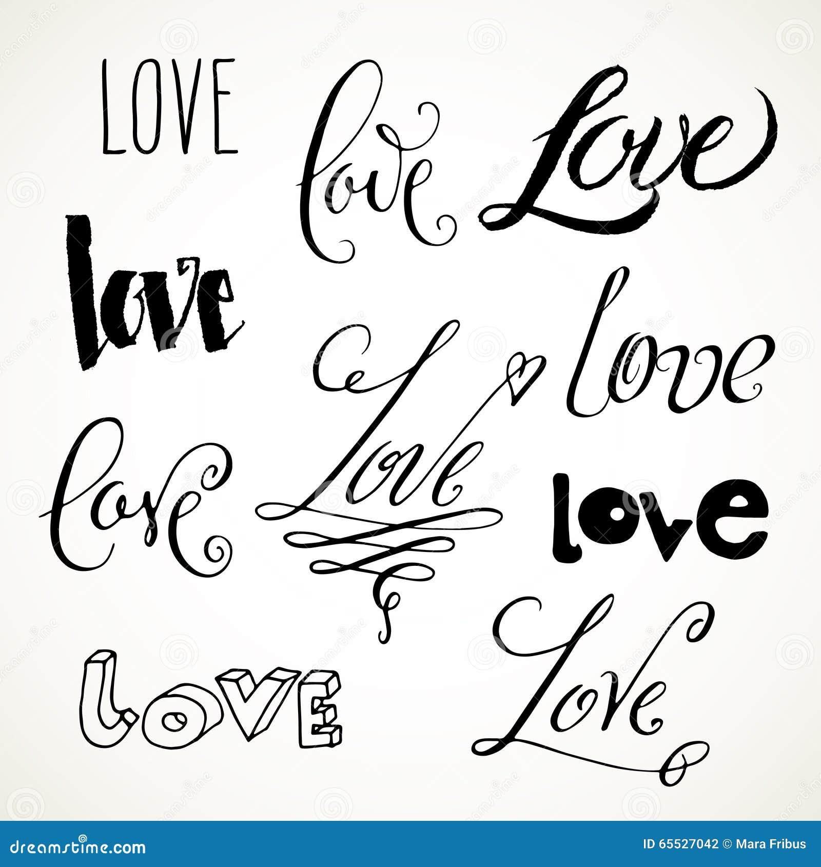 Misc Love Lettering Stock Vector Illustration Of Script 65527042