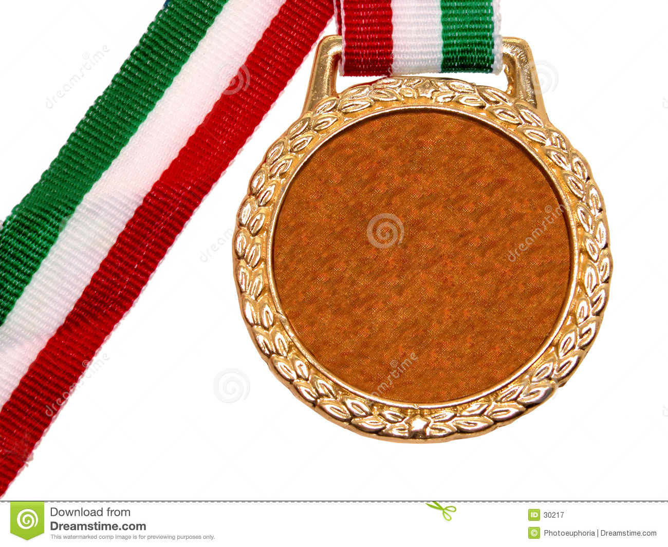 Misc.: Shiny Gold Medal with Red White & Green Ribbon