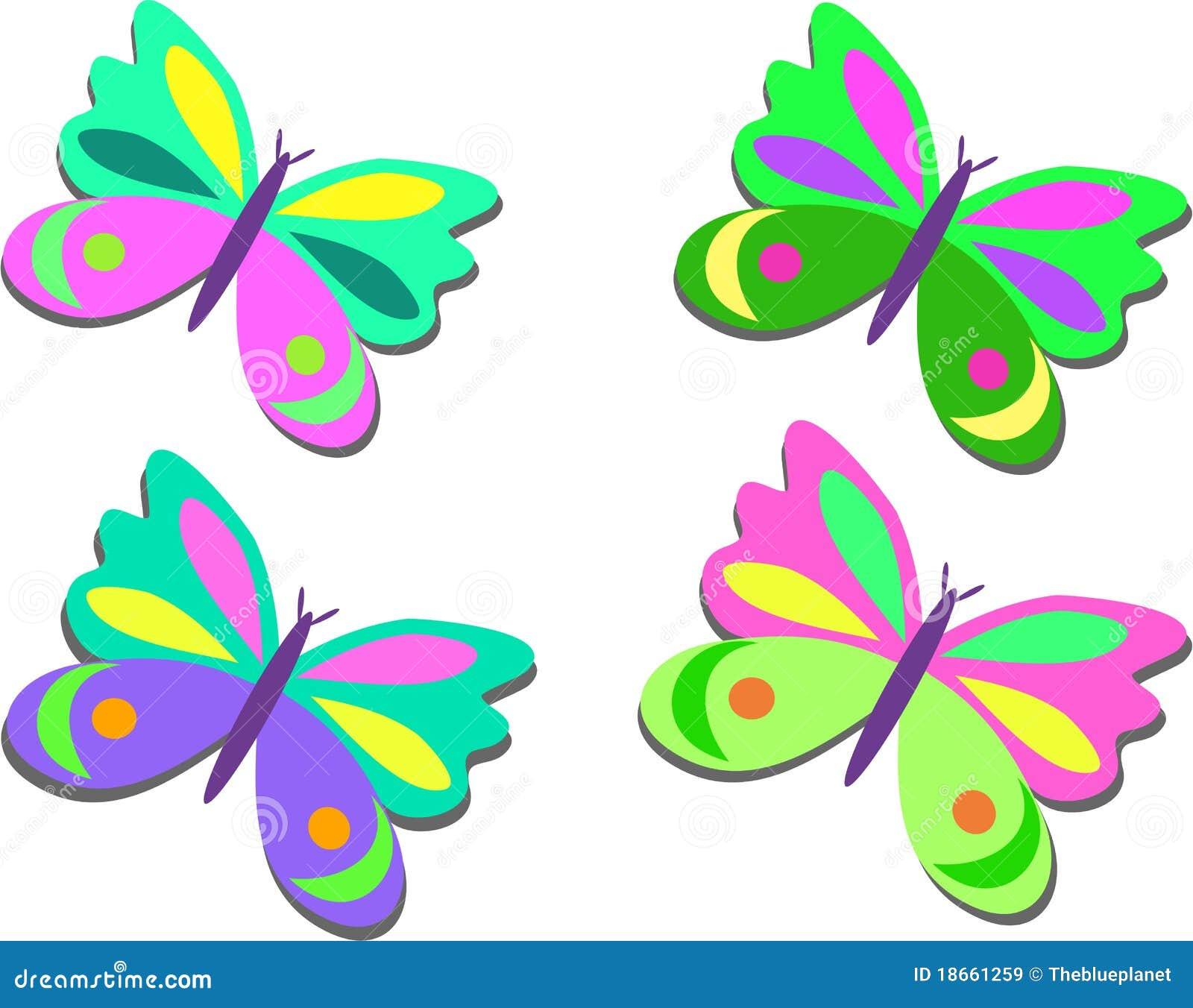 Miscela delle farfalle colorate illustrazione vettoriale for Foto farfalle colorate