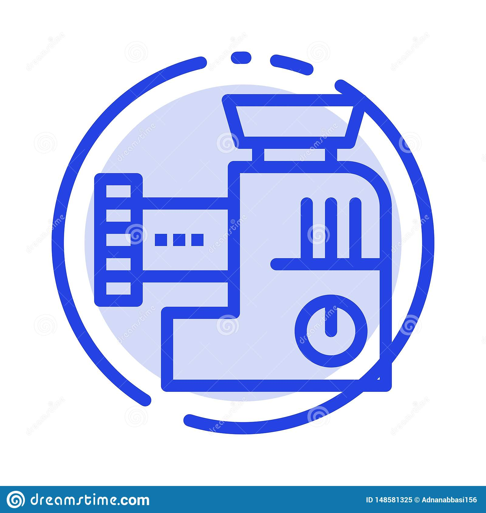 Miscelatore, cucina, manuale, linea punteggiata blu linea icona della miscela
