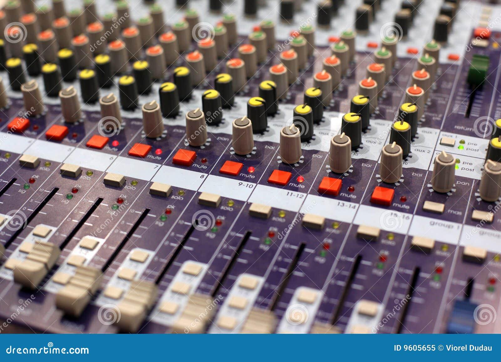 Miscelatore dell audio dello studio