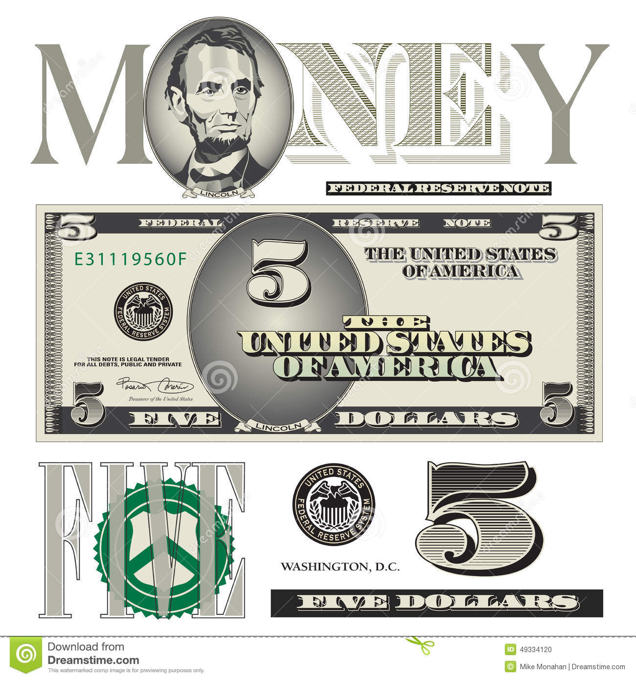 Miscellaneous 5 Dollar Bill Elements Stock Vector Image