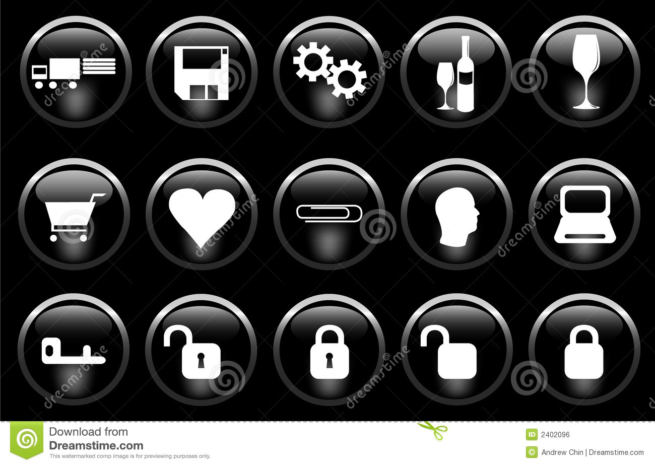 Download Miscellaneous Icons stock vector. Illustration of glassy - 2402096