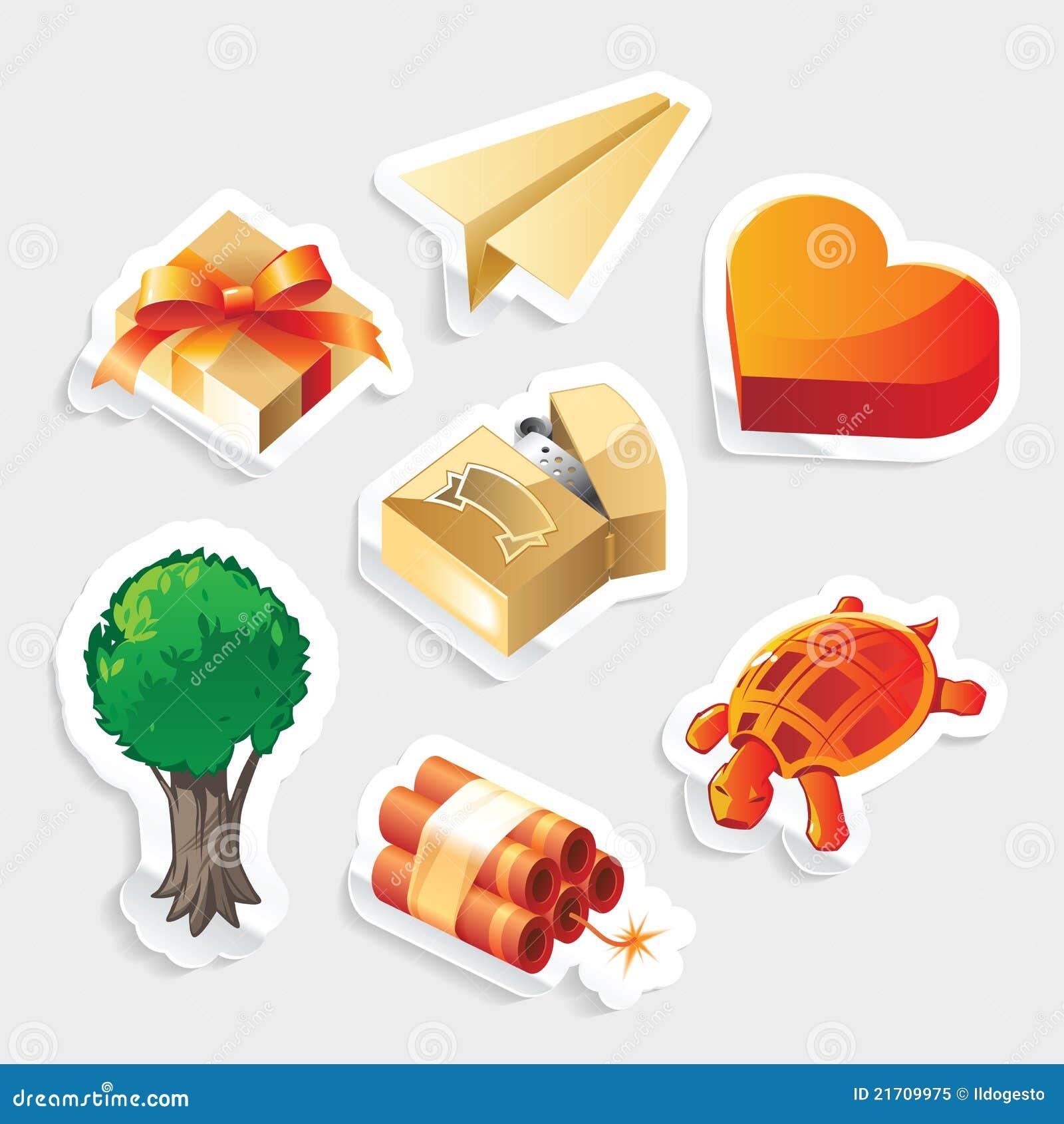 Miscellaneous sticker icon set