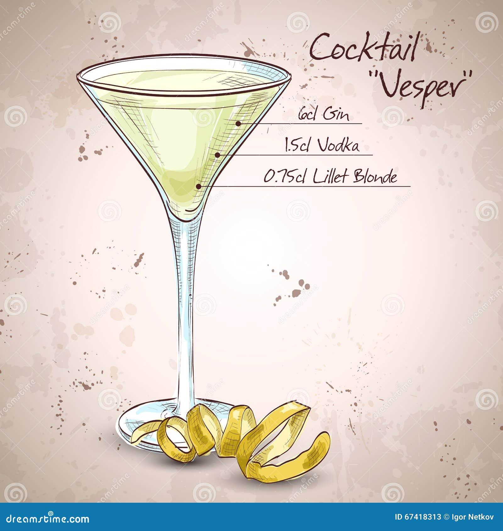 Mischgetränk Cocktail Vesper Vektor Abbildung - Illustration von ...