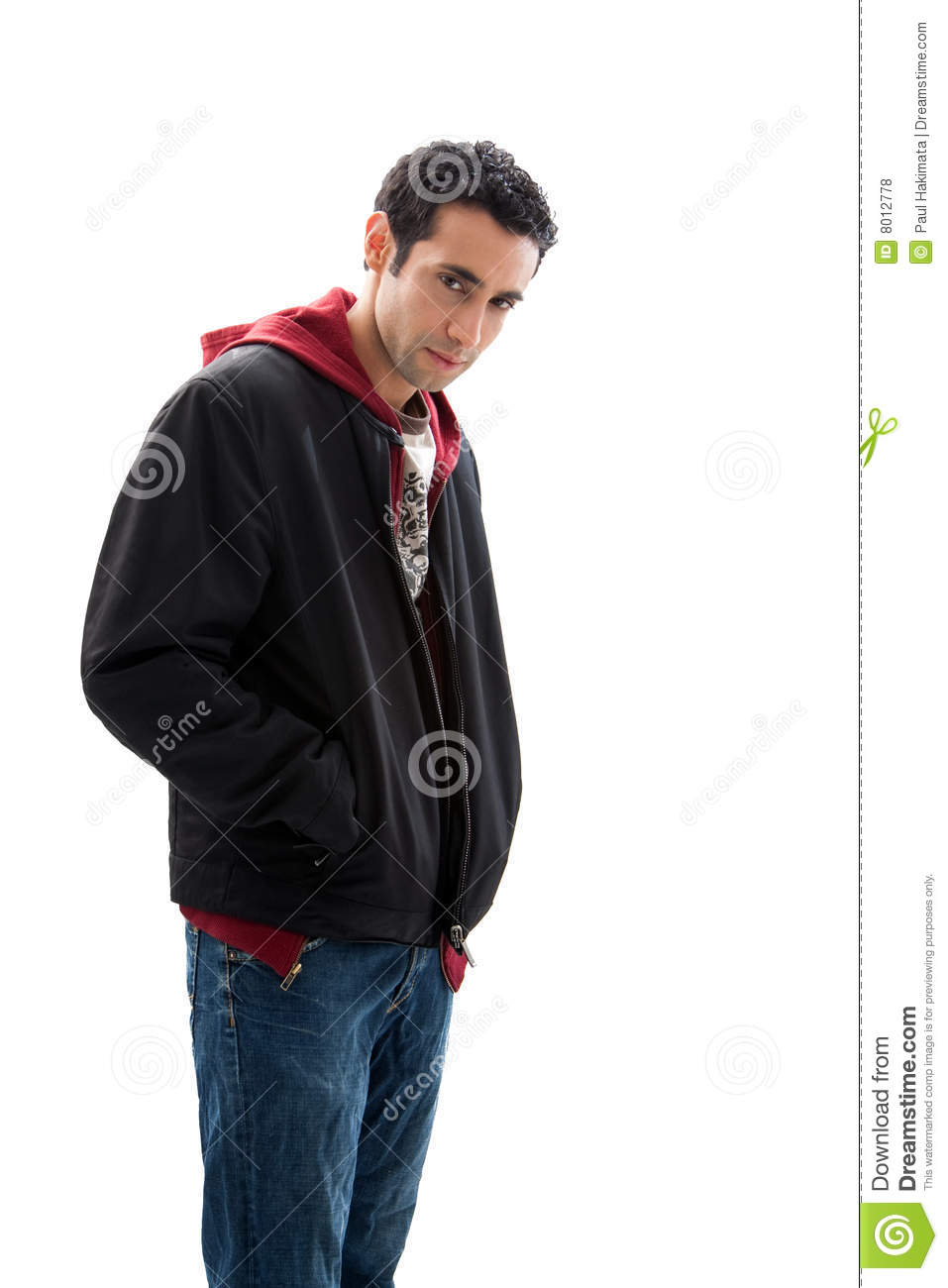 Cool handsome mischievous male wearing a red hoodie 4d8ec0039