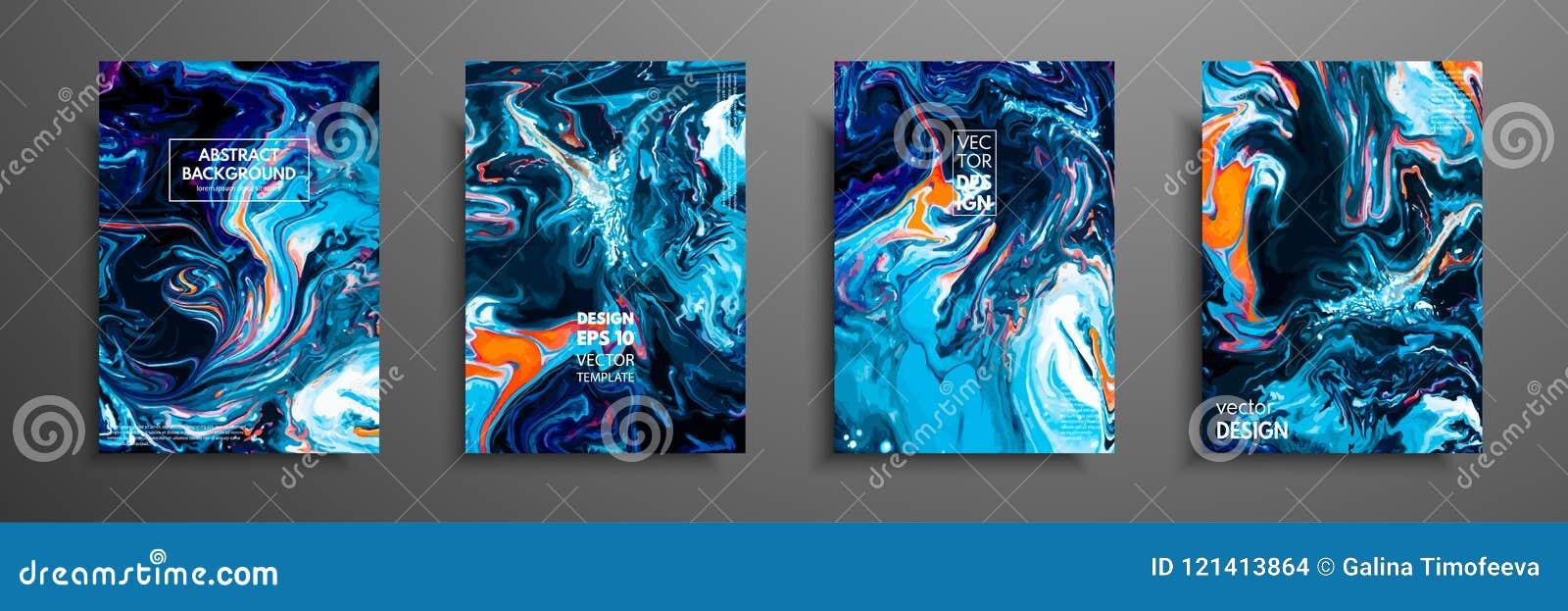 Mischung von Acrylfarben Flüssige Marmorbeschaffenheit Flüssige Kunst Anwendbar für Designabdeckung, Darstellung, Einladung