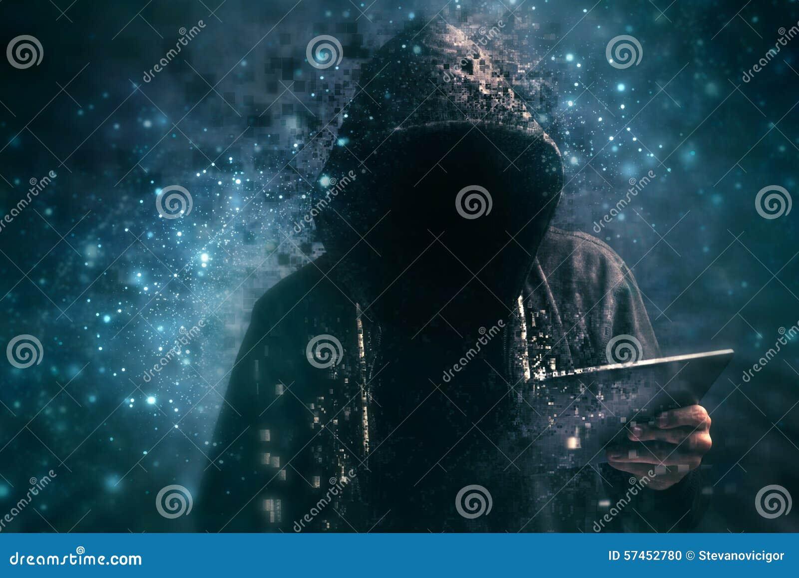 Misdadiger met een kap van Pixelated de onherkenbare cyber