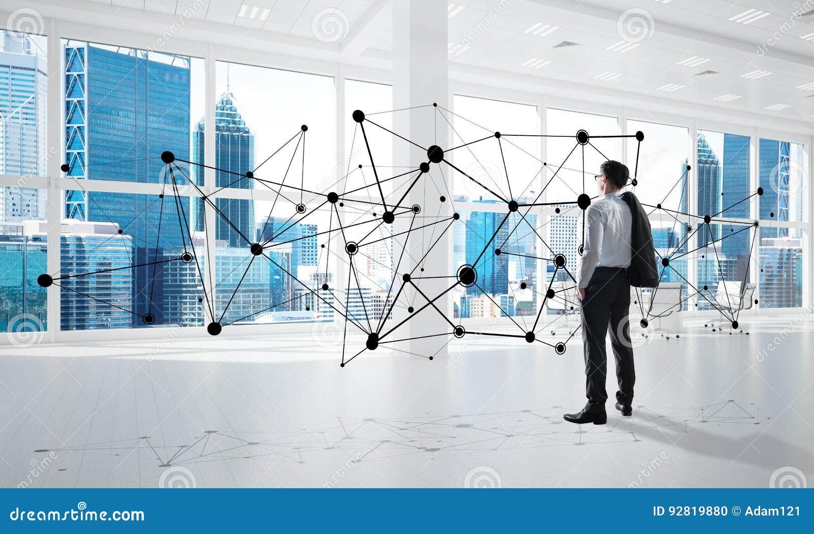 Mise en réseau et concept social de communication en tant que point efficace pour des affaires modernes