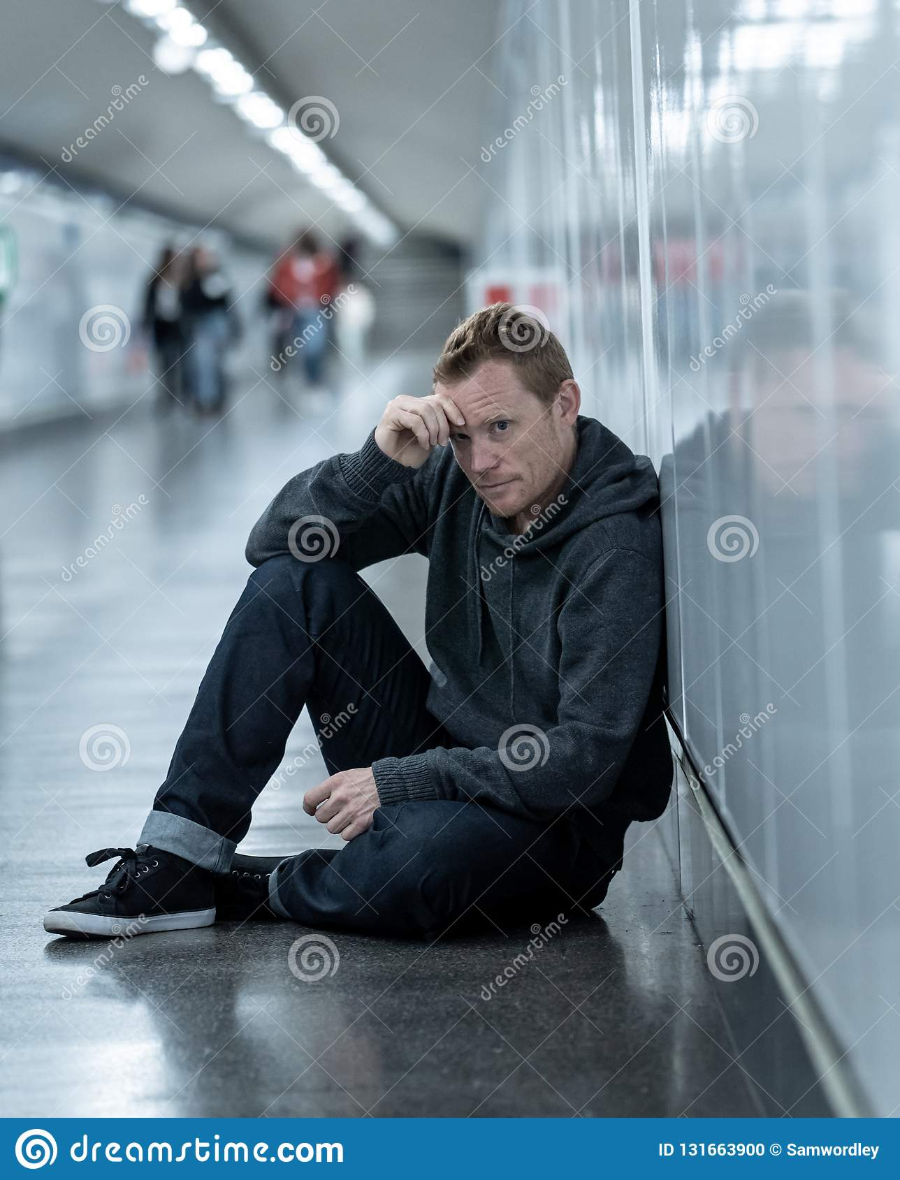 Miserable Jobless Young Man Crying Drug Addict Homeless In ...