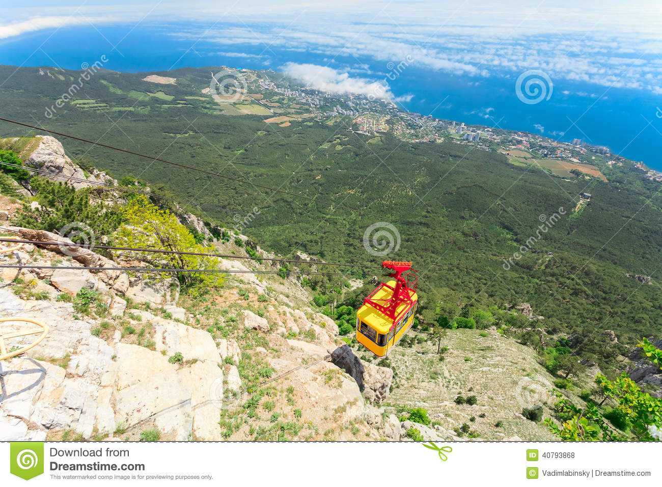Download MISHOR, CRIMEA, UKRAINE - MAY 12: People Travel By Rope Way Cab On Top Of Ai-Petri Mountain On May 12, 2013 In Mishor, Ukraine/Rus Stock Photo - Image of nature, mountain: 40793868