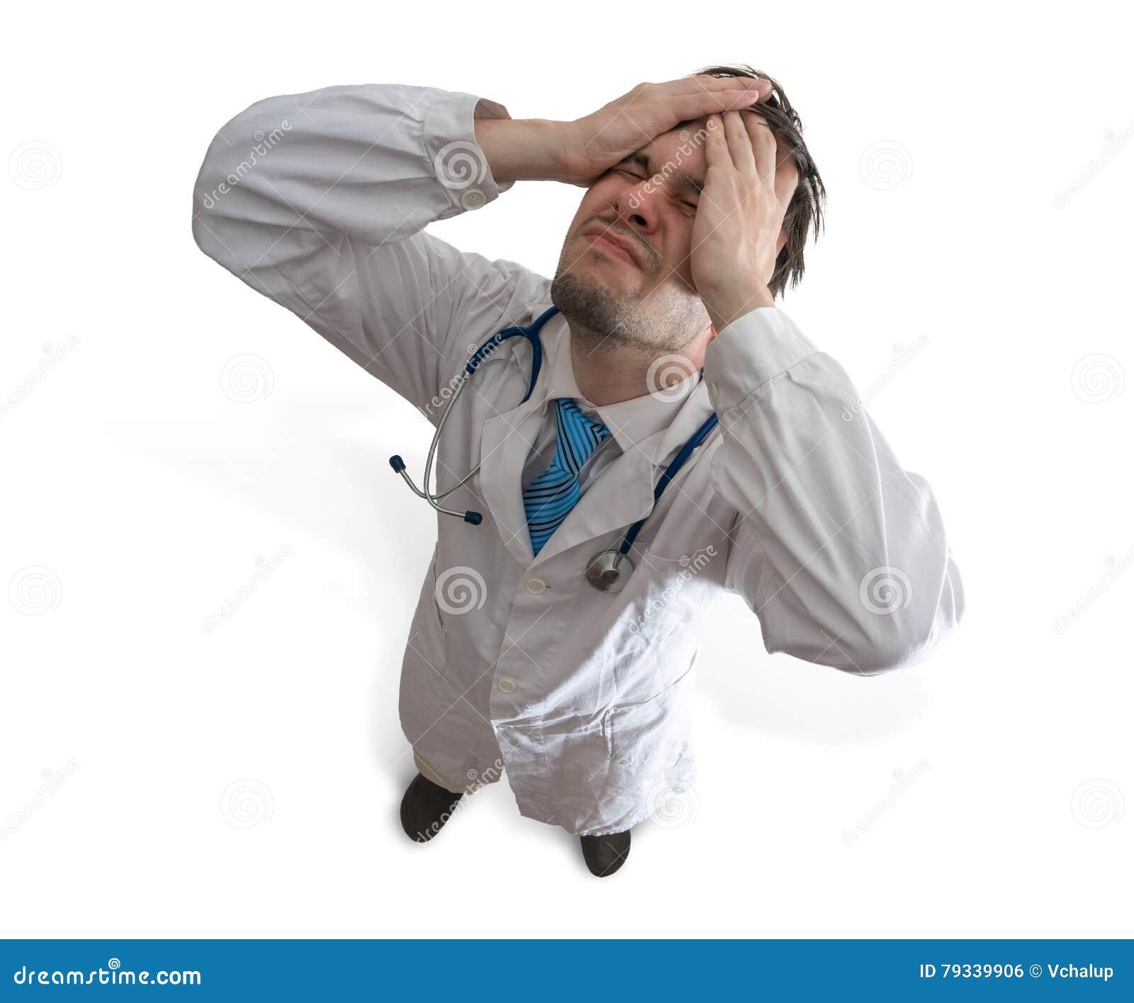 Mislukking en misdrijfconcept Teleurgestelde en beklemtoonde arts