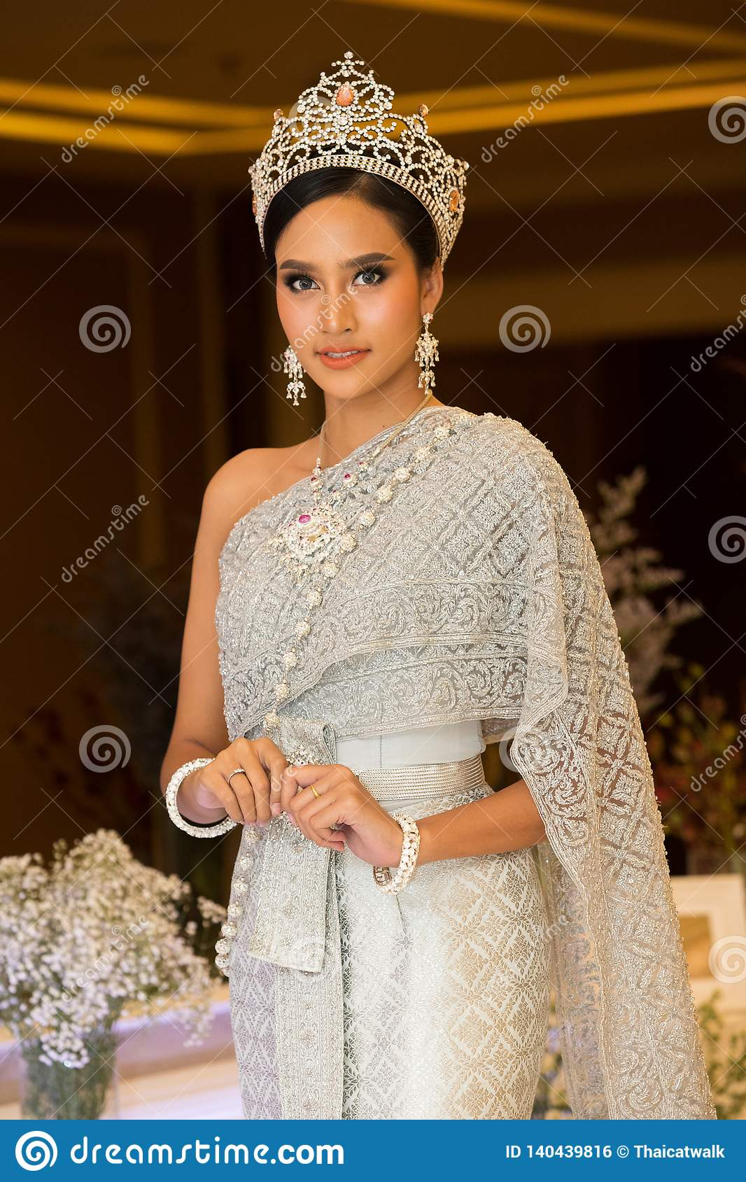 dc9502f85 Fashion Model In Thai Traditional Costume Wedding Dress Stock Photo ...