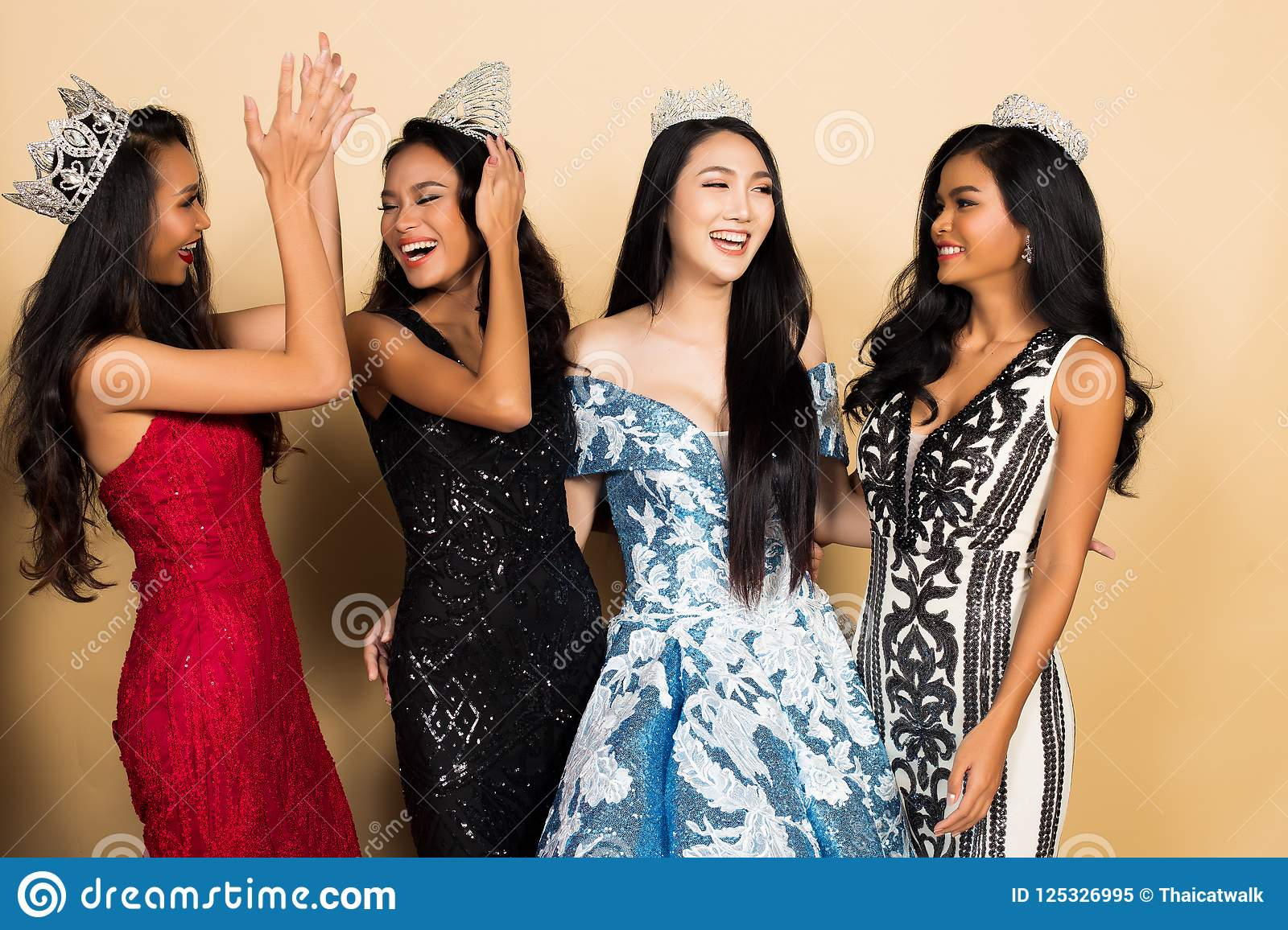 Group of Four Miss Beauty Pageant Queen Contest in Asian Evening Ball Gown  sequin dress with Diamond Crown Sash, multi national race world beauty  contest, ...