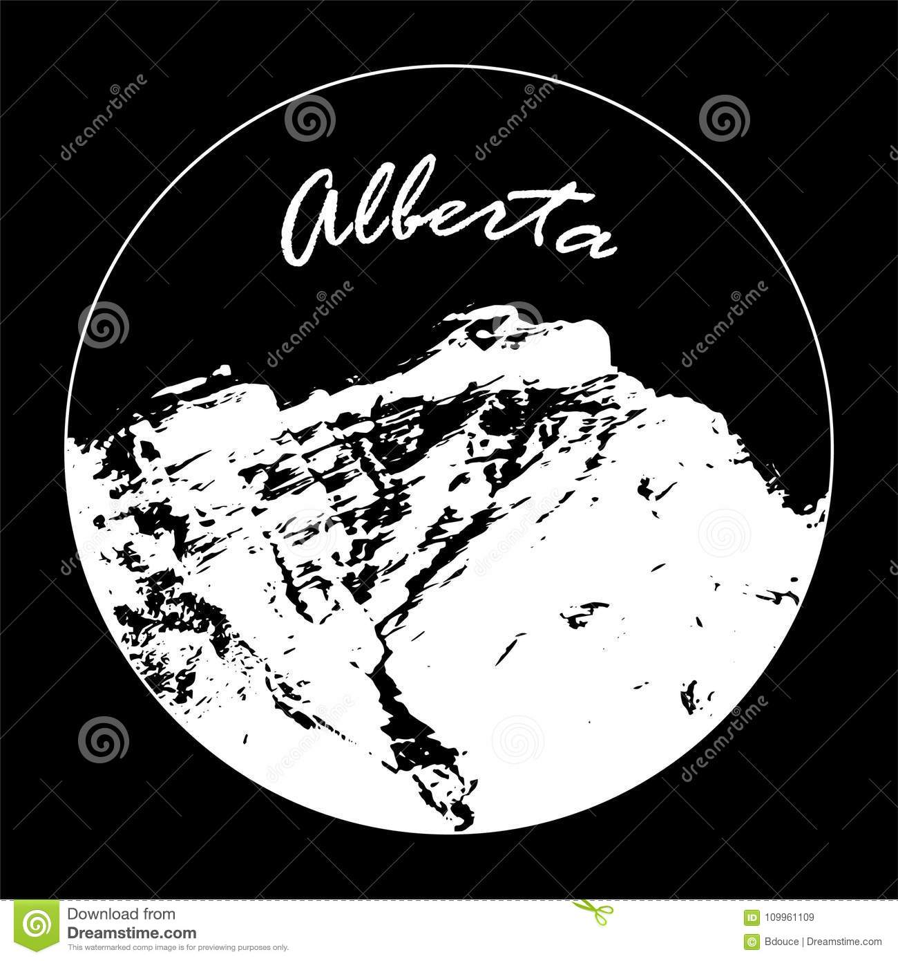 Miss Cascade Mountain In A Circle With `Alberta` Text On Black Background