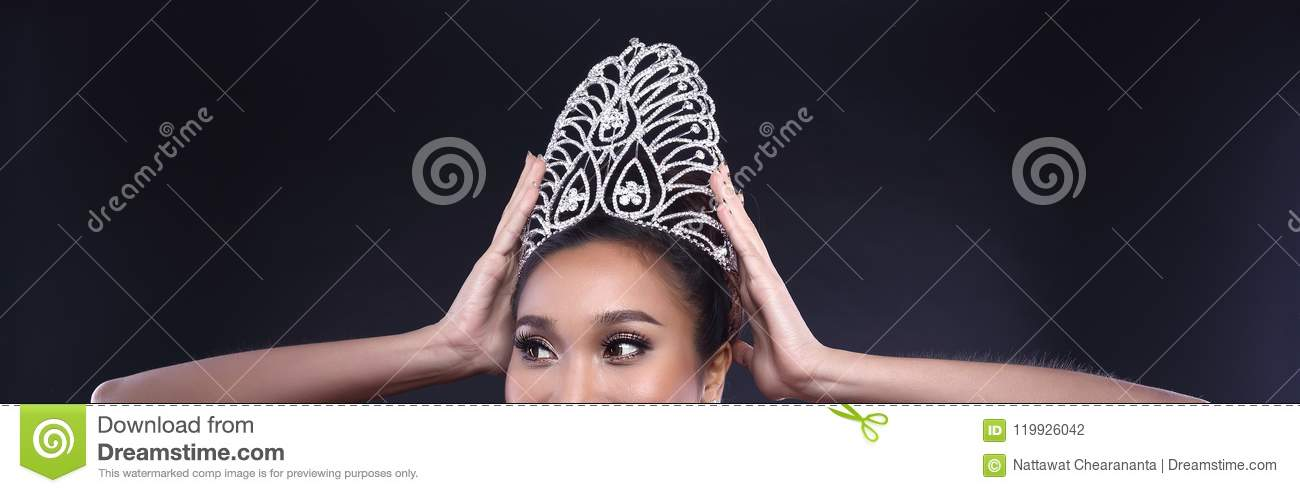 Miss Pageant Contest In Evening Ball Gown Dress With Diamond Crown