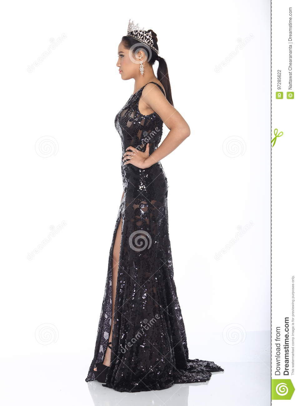 Miss Pageant Contest In Evening Ball Gown Long Ball Dress With D