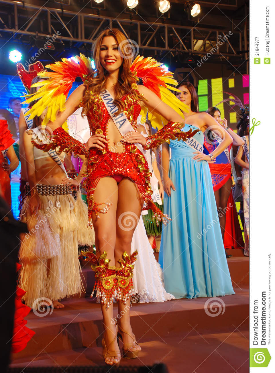 miss panama wearing national costume editorial photography