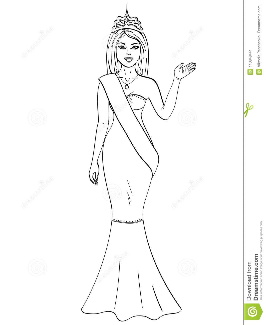 Miss the world of beauty. The girl, the winner of the contest of models. Object on white background. Coloring book