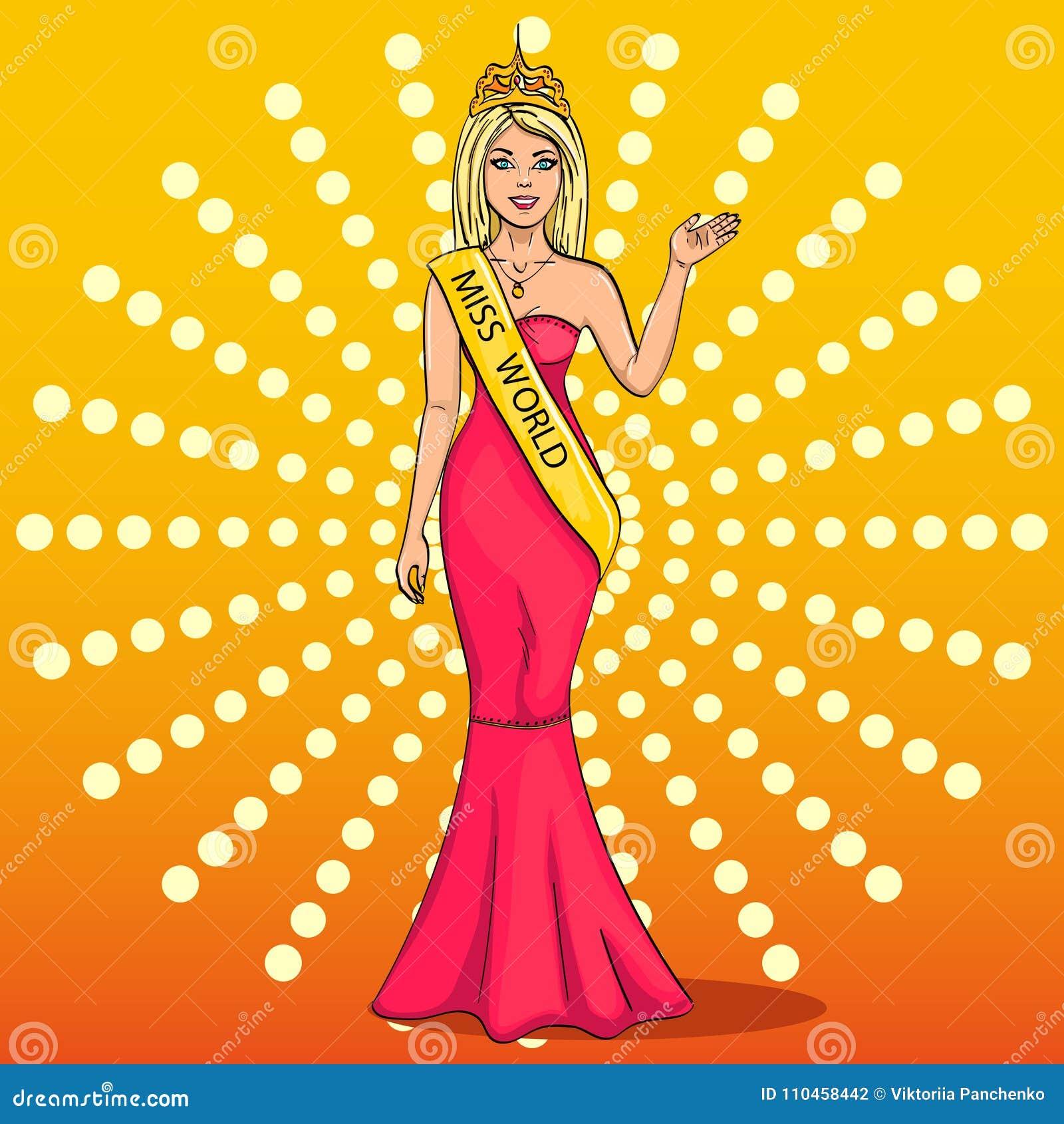 Miss världen av skönhet Flickan, vinnaren av striden av modeller Vektor popkonst Efterföljden av komiker