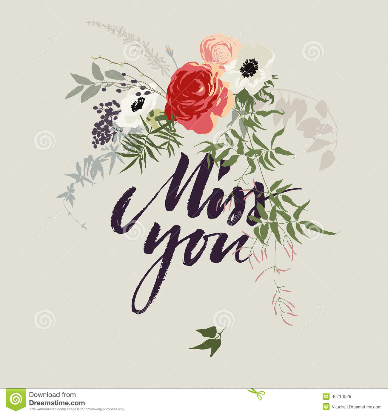 Miss You Card With Flowers Illustration 40714528 Megapixl