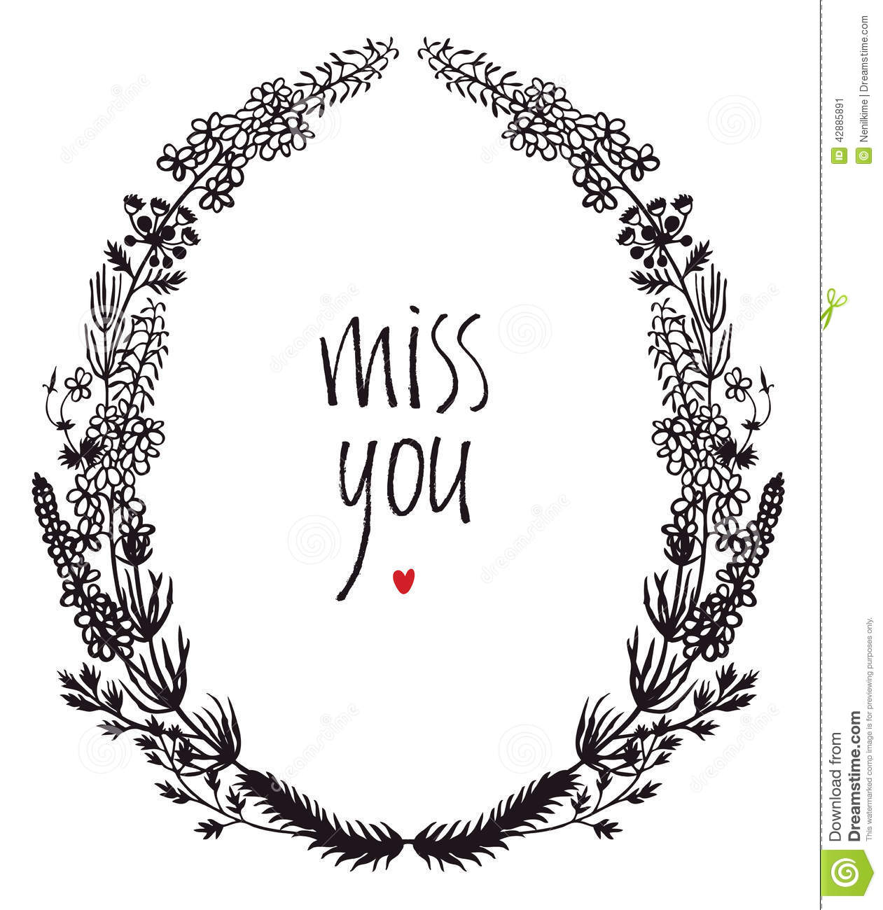 Miss You Design Card With Floral Vignette And Heart Stock Vector ...