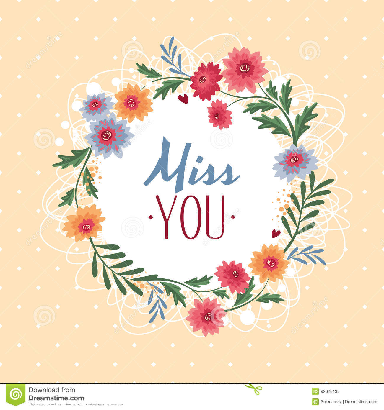 Miss You Gift Card Stock Vector Illustration Of Card 92626133
