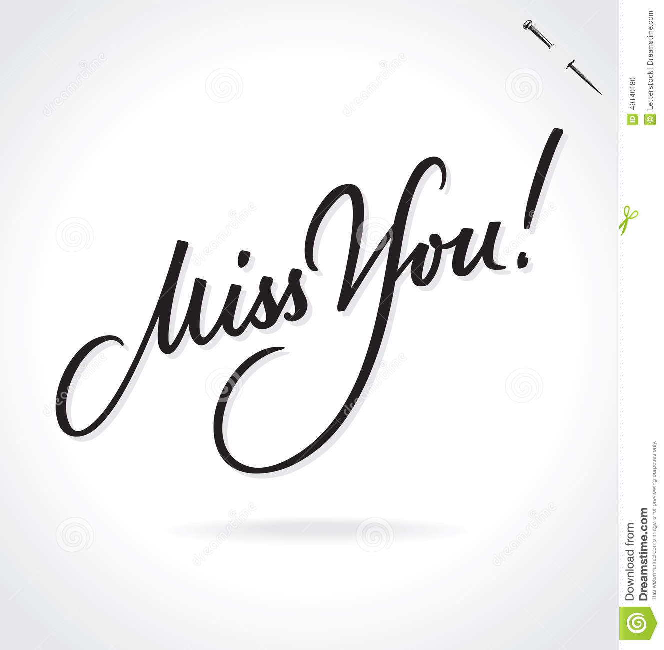 Miss You Hand Lettering Vector Stock Vector Image