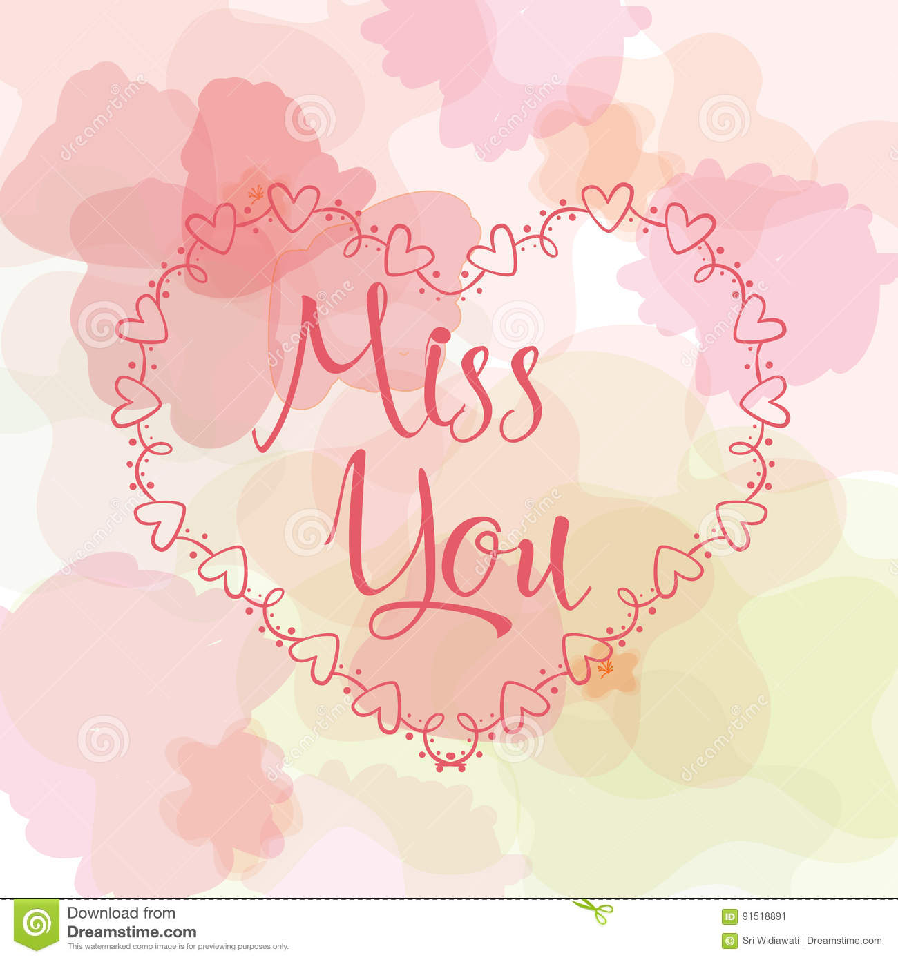 Miss You Inscription Greeting Card With Calligraphy Hand Drawn