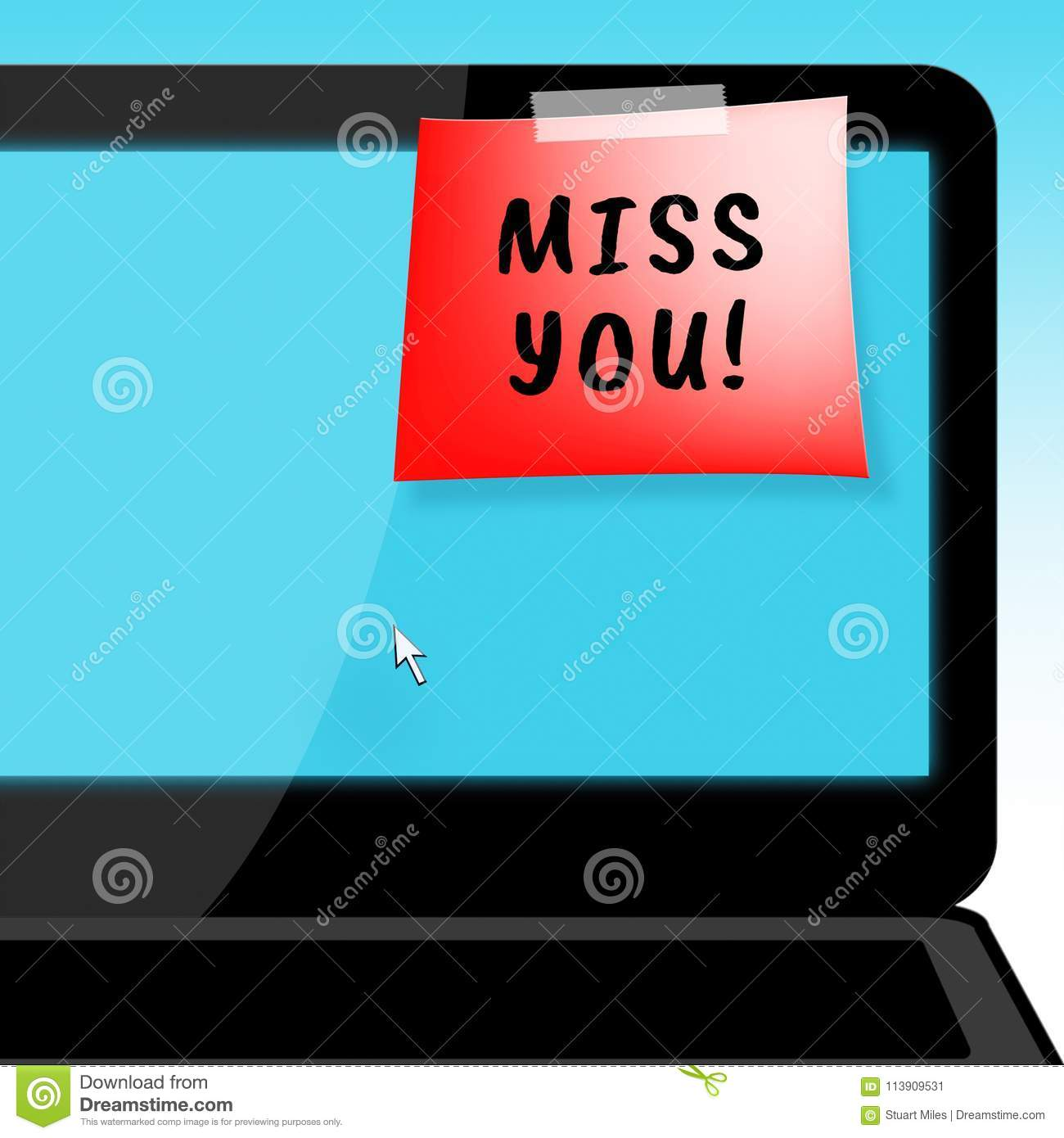 Miss You Means Love And Longing 3d Illustration Stock