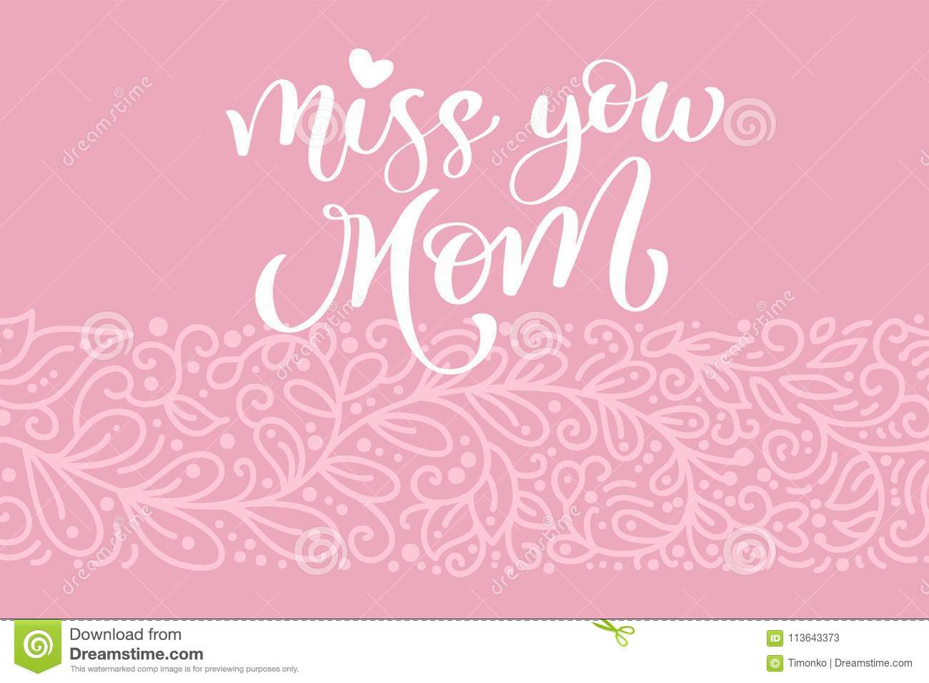Miss You Mom Greeting Card Vector Calligraphic Inscription