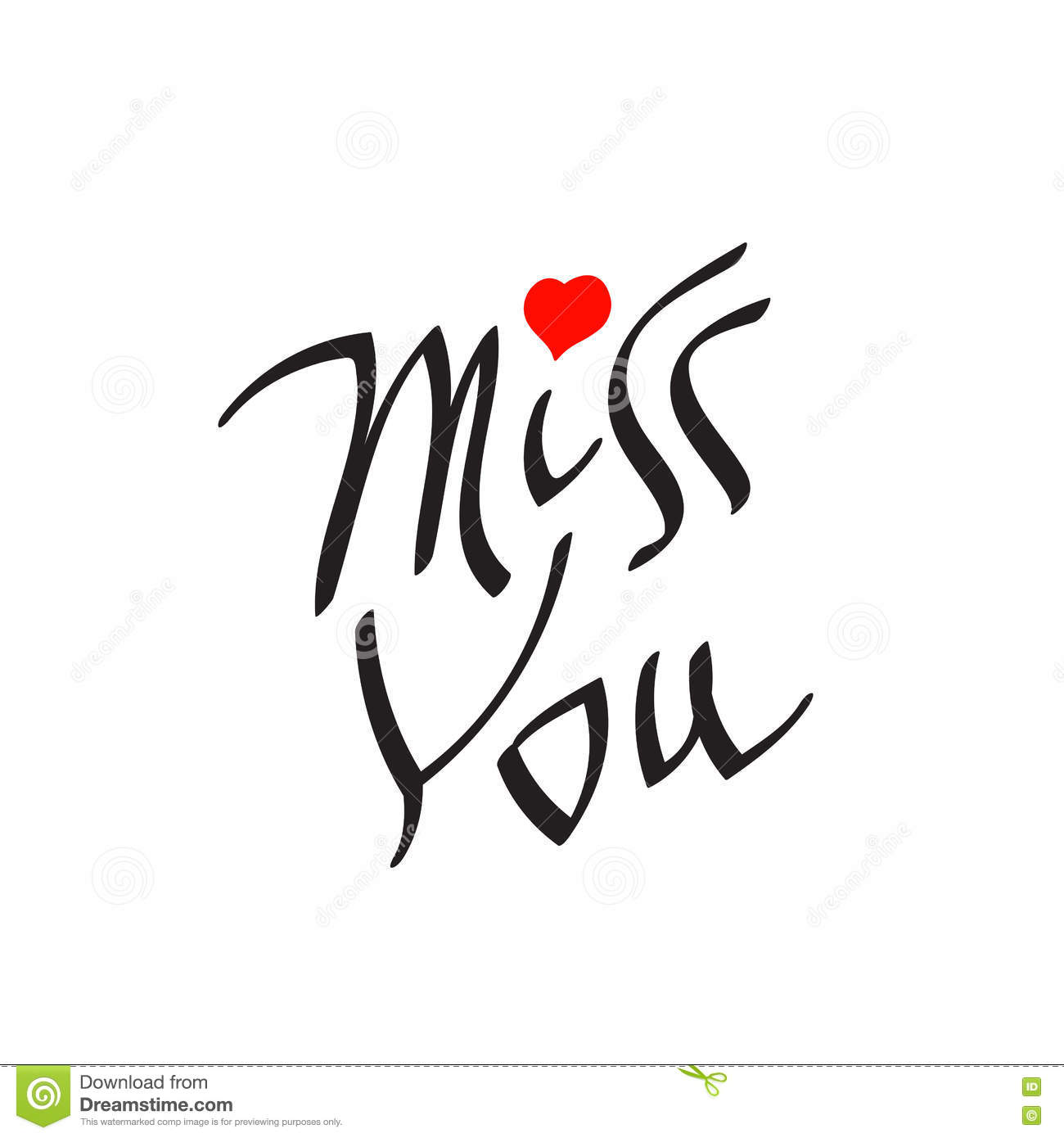 Miss You Text With Heart Symbol Stock Vector Illustration Of