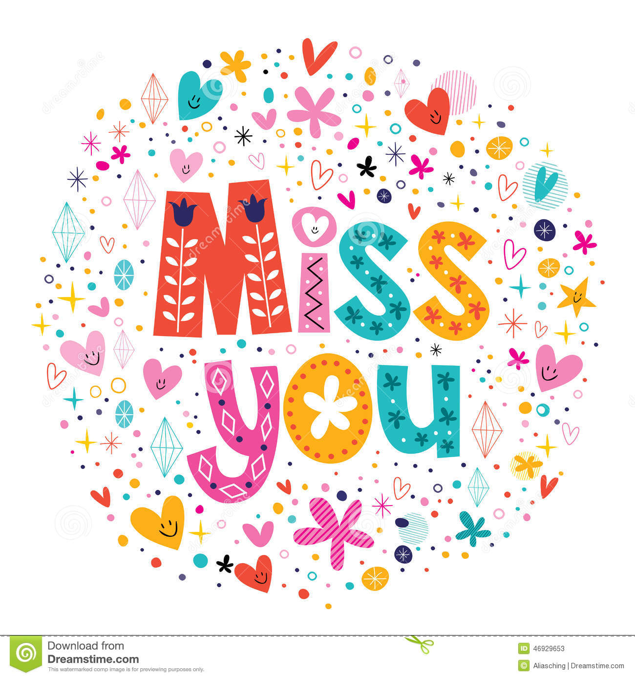 Miss You Typography Lettering Stock Vector Illustration Of
