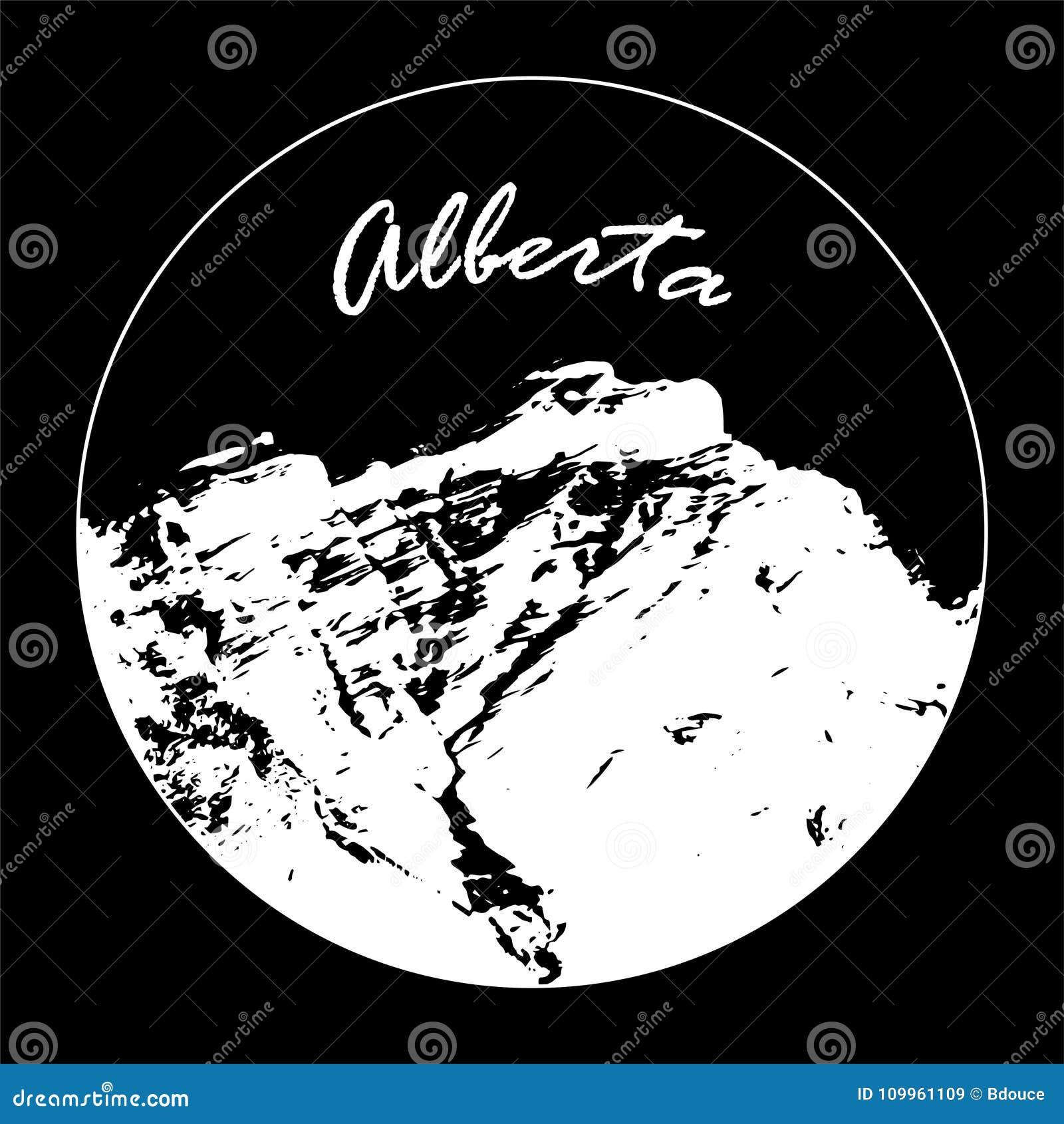 Misser Cascade Mountain In een Cirkel met de Tekst van ` Alberta ` op Zwarte Achtergrond