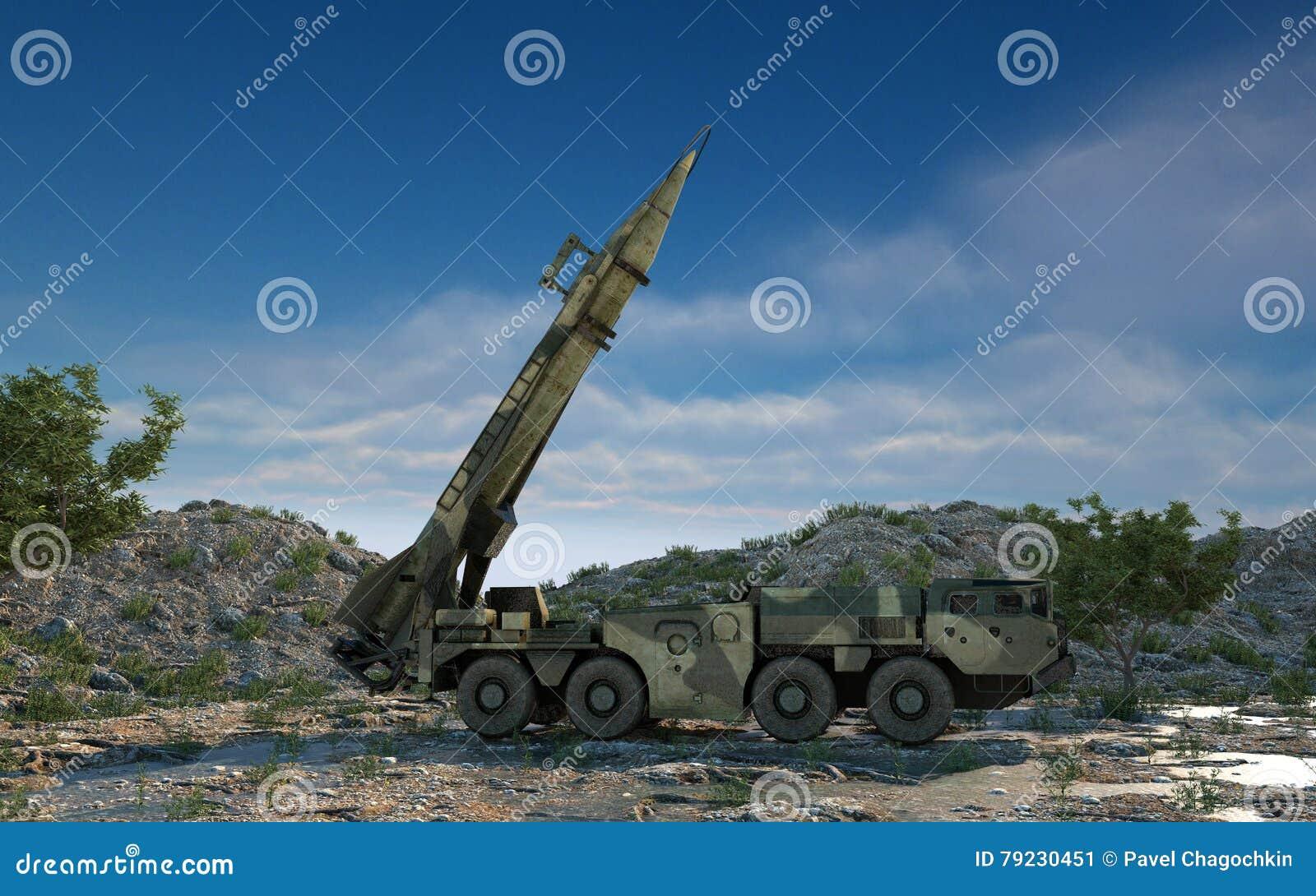 Missile balistique nucléaire mobile Ballistique russe rendu 3d