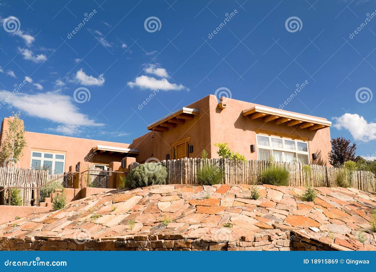 Mission adobe home palisade fence santa fe nm usa stock for Santa fe adobe homes