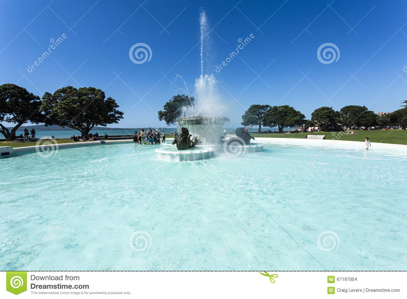 Water fountains auckland - Mission Bay Auckland Stock Images