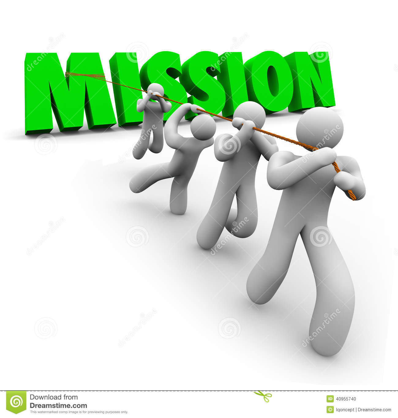 Mission Team Pulling Together Achieve Goal Objective Task